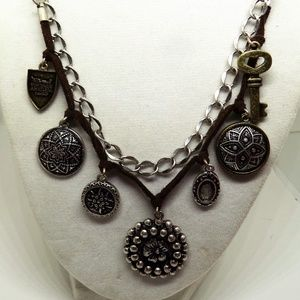 Nine West Vintage America Charms Leather Necklace